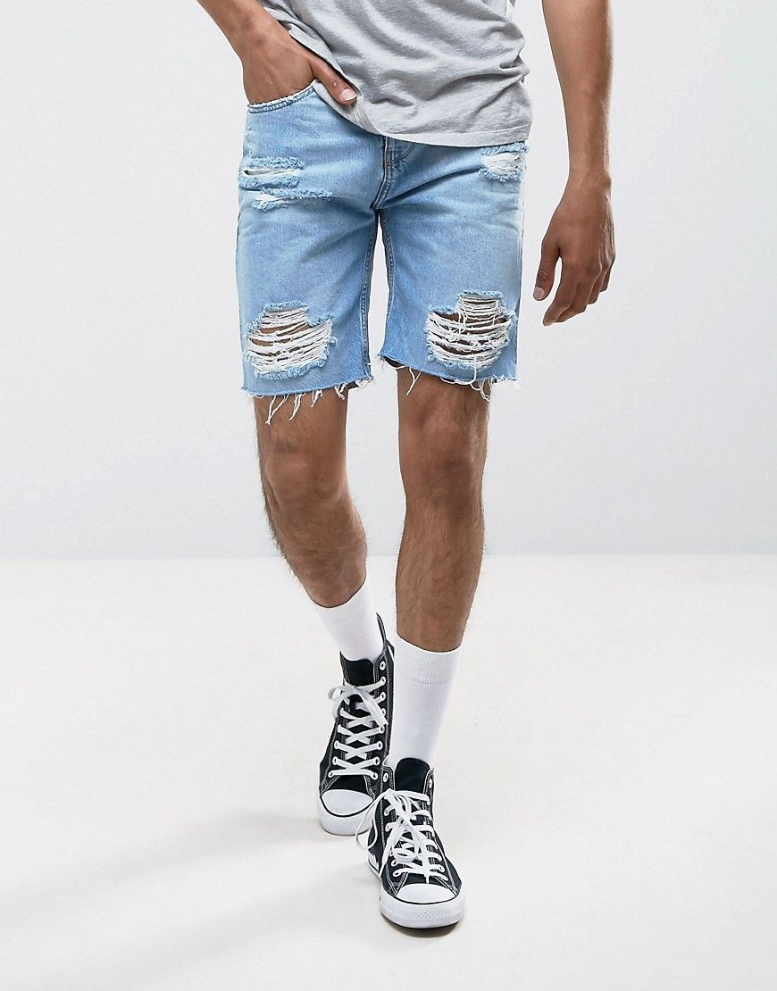 8a773a80f2ce7a Pull&Bear Distressed Denim Shorts In Light Wash - Blue | My Style in ...