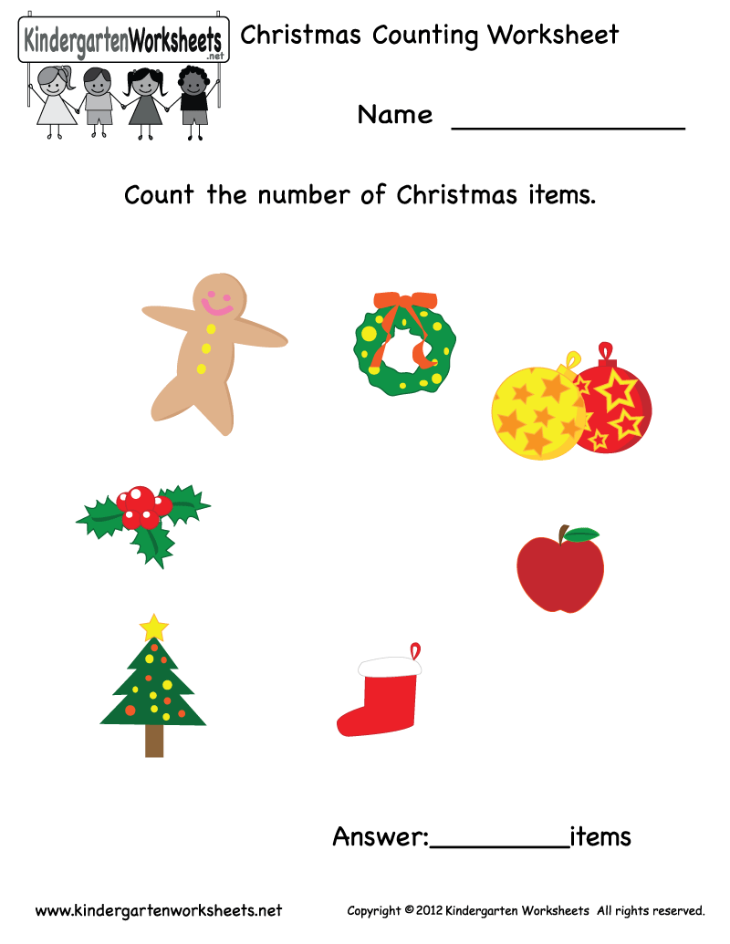 Kindergarten Christmas Counting Worksheet Printable | Math ...