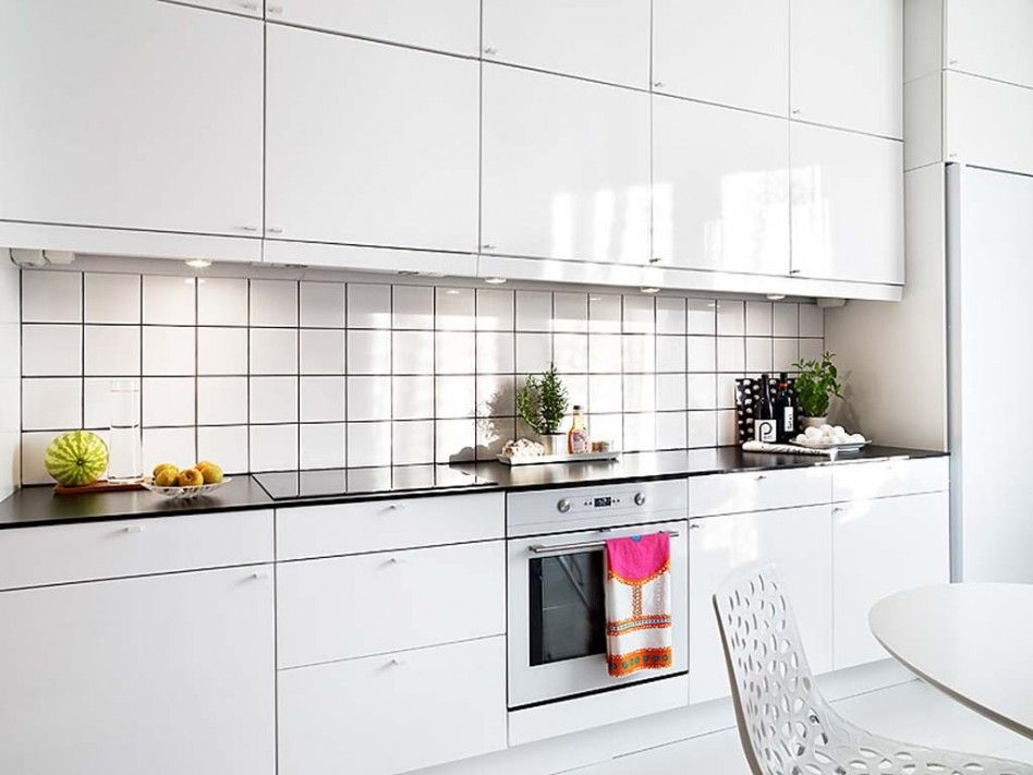 Kitchen, : Stunning White Small Galley Kitchen With Square White Tile  Kitchen Backsplash Including White