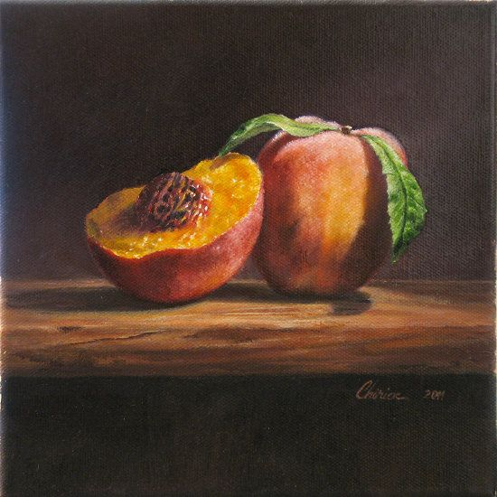 8 by 10 Panel Peaches Still Life Acrylic Painting