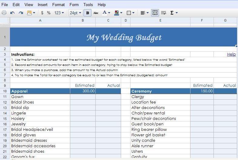 Google Docs Budget Template Popular Fabulously Ever After Weddings