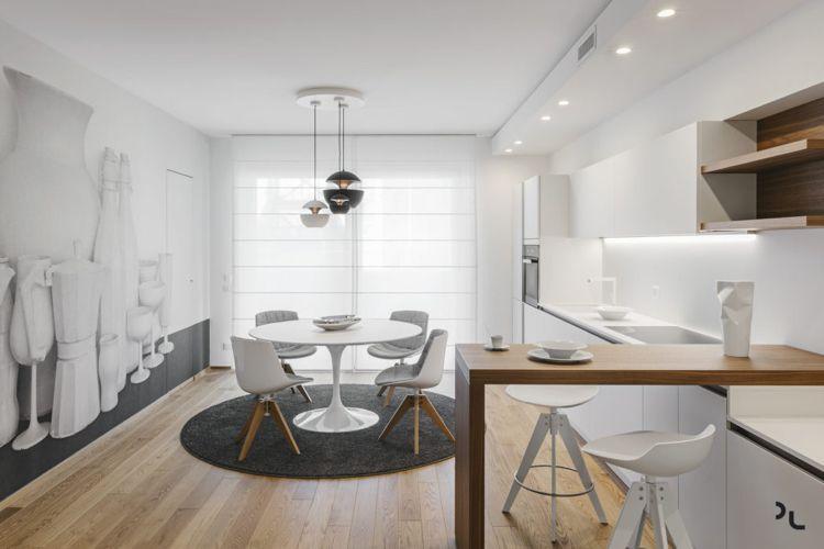 holz modern minimalistisch küche weiss fototapete #bodenbeläge ...