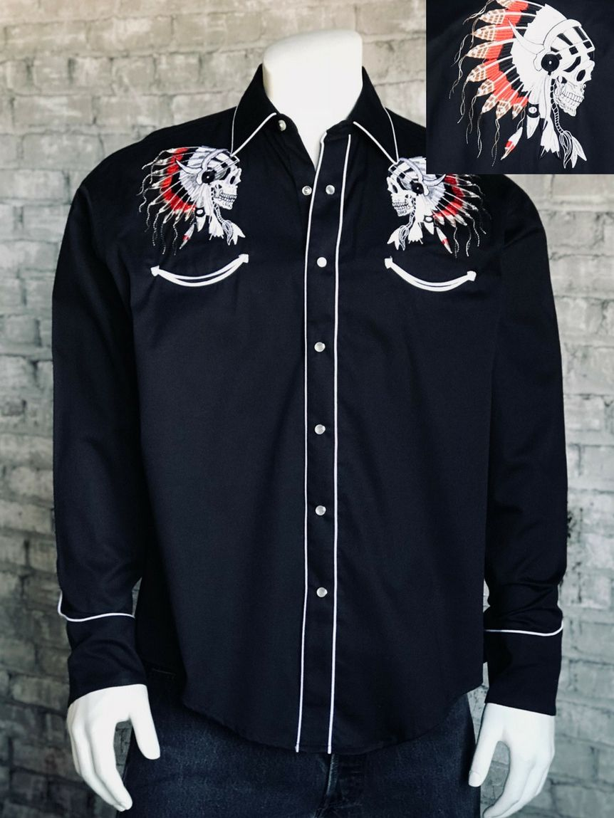 14327ac23322 This shirt gives new meaning to the art of Western design. Beautifully  embroidered, it is both fashion forward and a tribute to the Native  American.