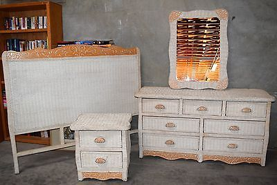 Details About Jamaican Collection Wicker Bedroom Set 4