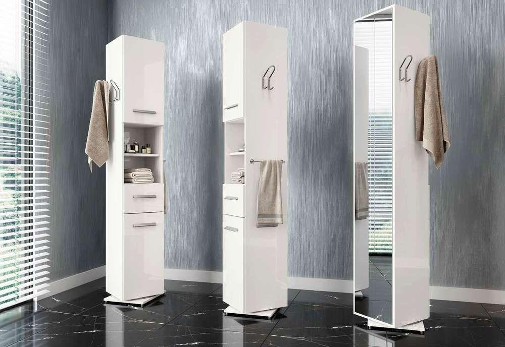 Colonna per bagno girevole su supporto con specchiera e