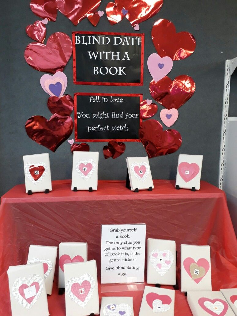 Blind date with a book display. Was really successful