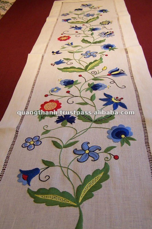 hand made embroidery table runner