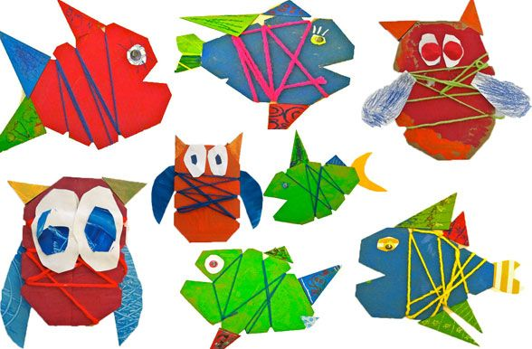 cardboard owls and fish