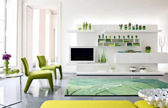farben im wohnzimmer weiß grün wohnwand grasgrüner teppich