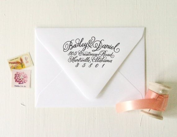 return address stamp no 11 personalized calligraphy save the