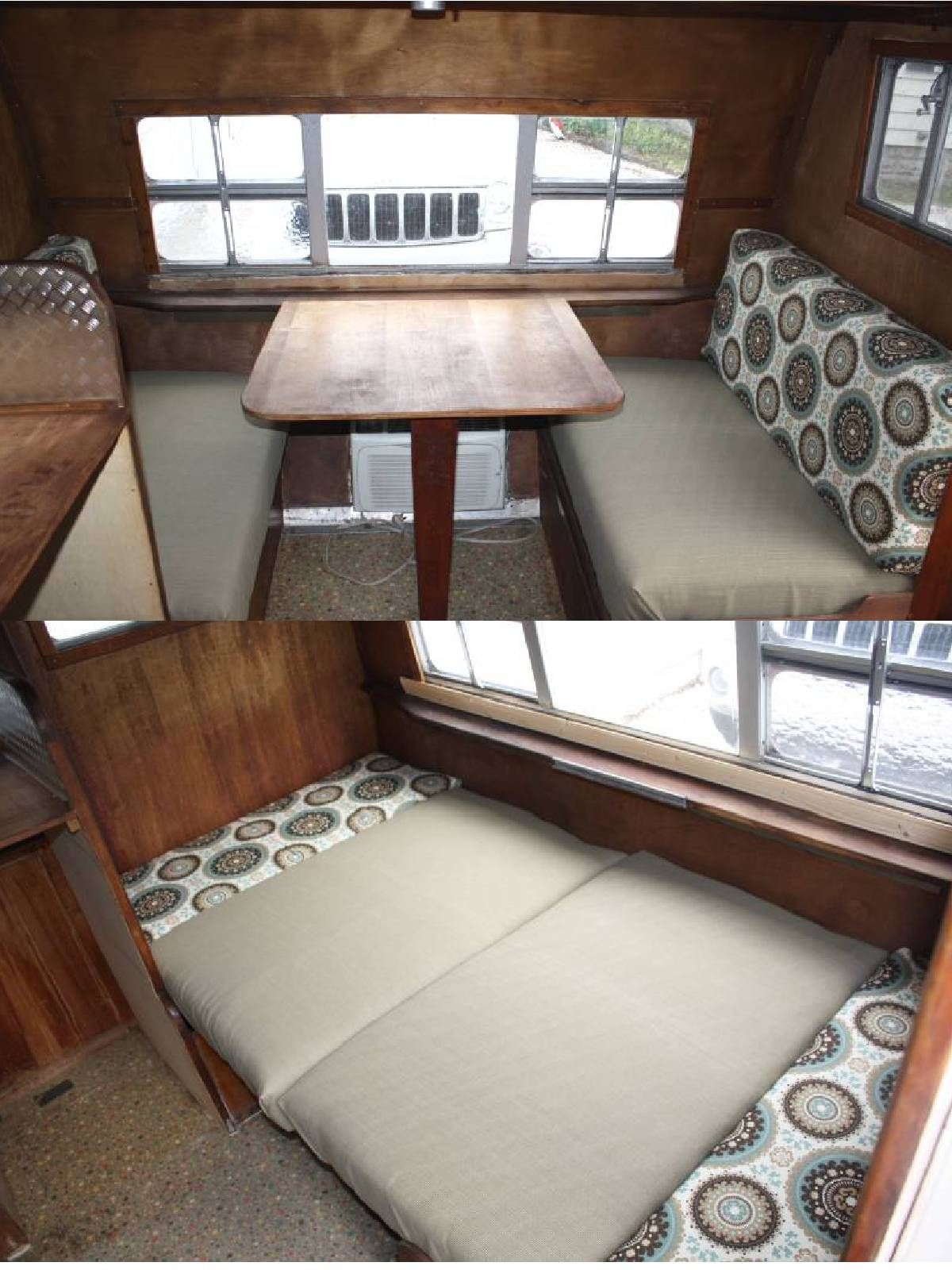 Retro camper curtains - How To Make Easy Vintage Trailer Dinette Cushions Step By Step Pics Great For Our Pop Up