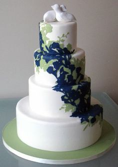 mint green and navy blue wedding cake - Google Search | Marissa\'s ...