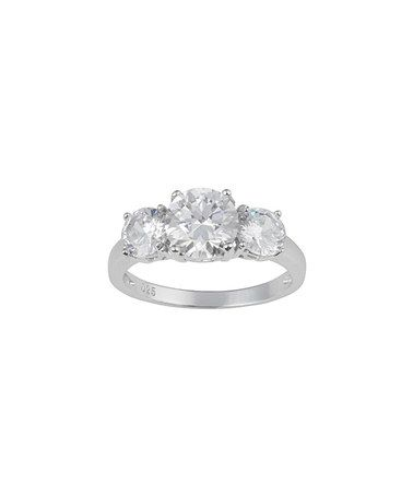 Love this Cubic Zirconia & Sterling Silver Round Trio Stone Ring by Journee Collection on #zulily! #zulilyfinds