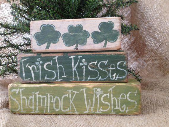 d8184891be6 Primitive St Patricks Day Irish Kisses Shamrock Wishes Shelf Sitter Wood  Blocks on Etsy