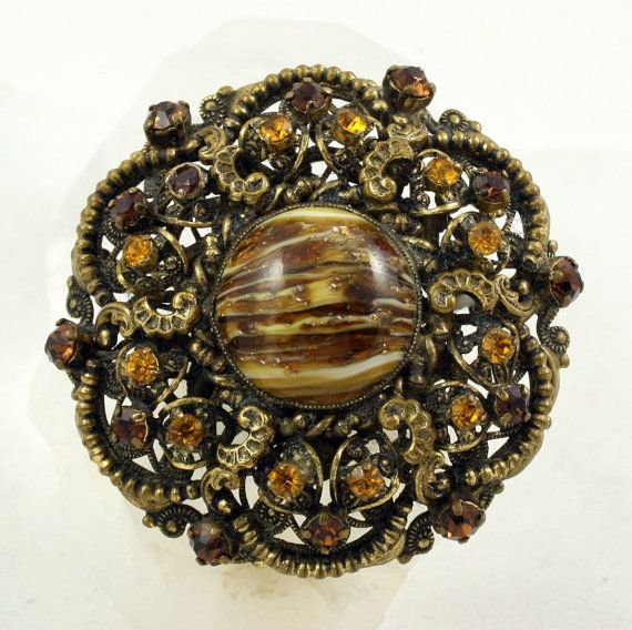 210ffcd008549 Czech Brooch, Czech Rhinestone, Art Glass, Filigree Brooch, Amber ...