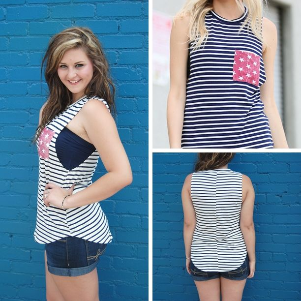 Perfect for July 4th!  Striped Tank top with Star Pocket (White or Navy) - $26 w free ship! S(0-4) M (6-8) L (10-12) Soft Fabric, Great Quality! Limited left