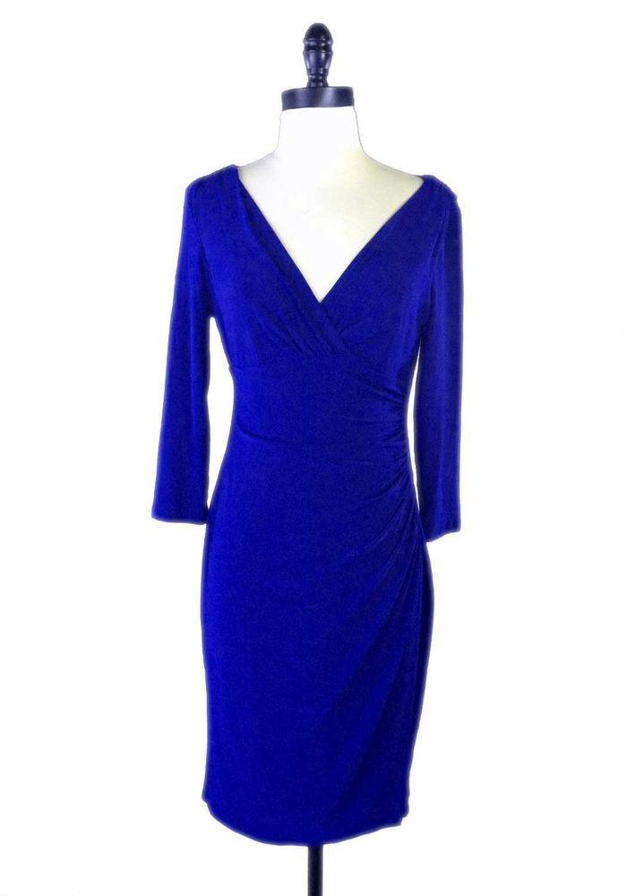 Ralph Lauren Dress 6 Royal Blue Polyester Spandex Blend Faux Wrap ...