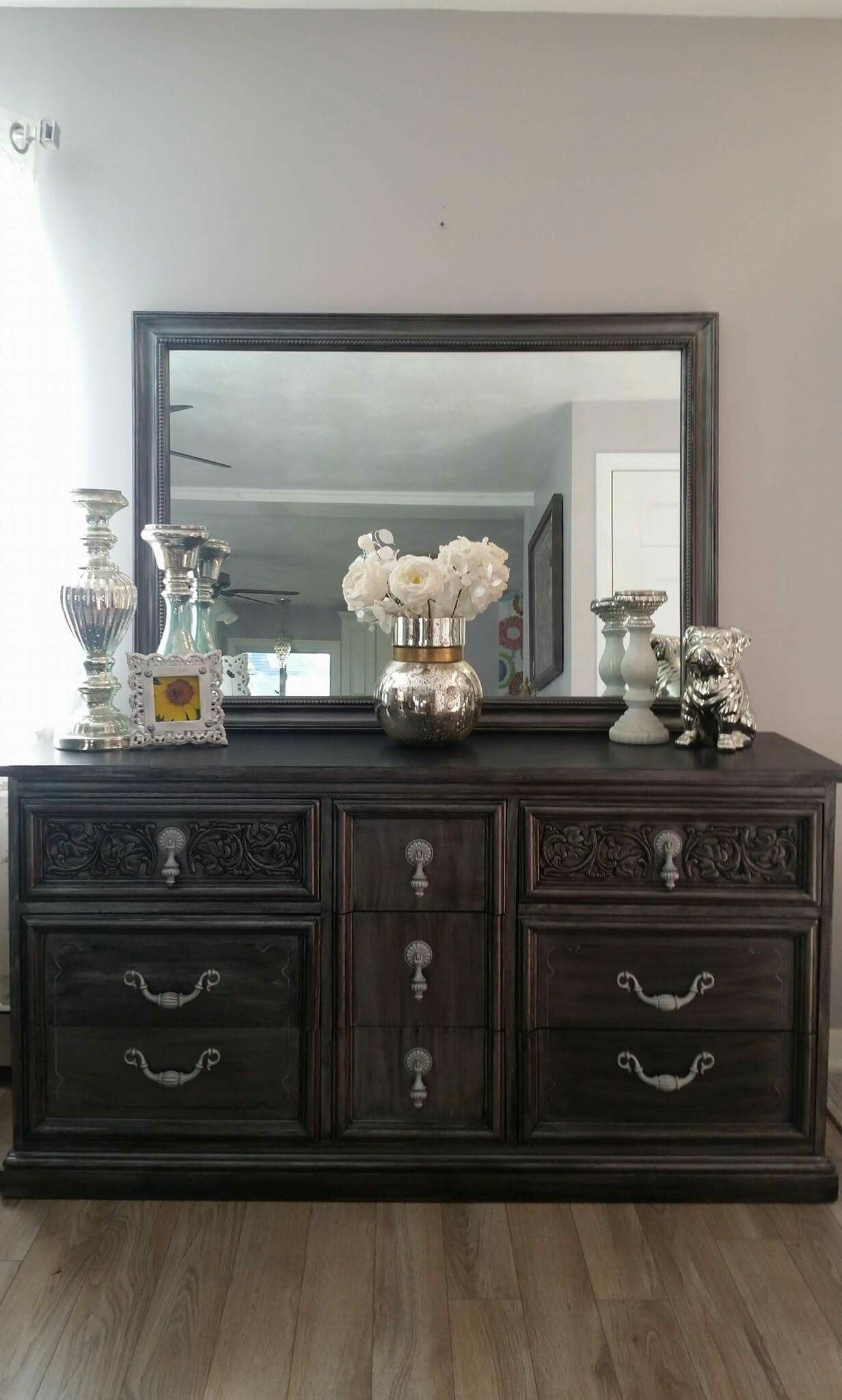 dixie vintage 6 drawer dresser repurposed painted in silver metallic and black glaze