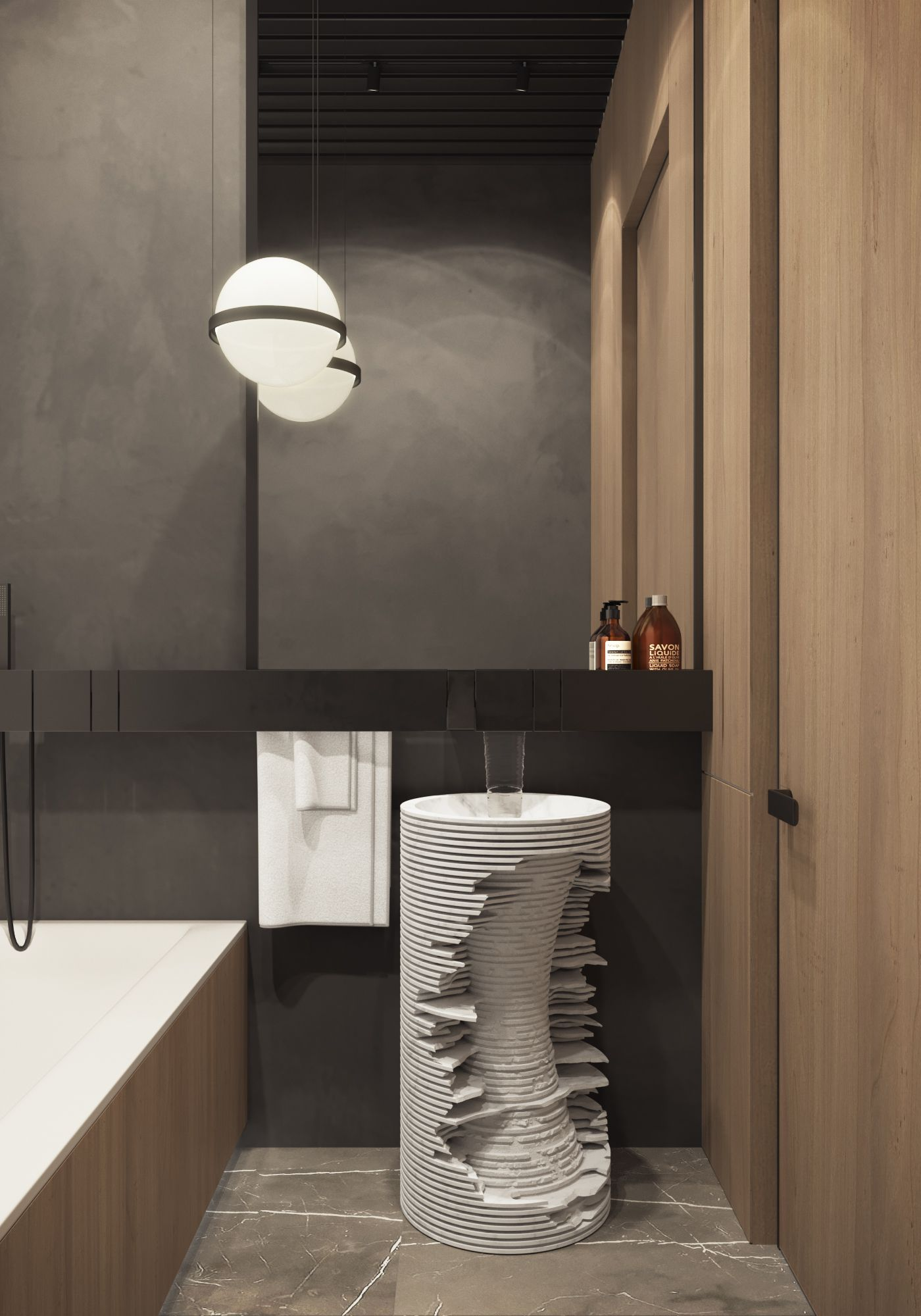 Guest bathroom  #oniproject  #bathroom #agape #vibia #wood  #tile #vibia