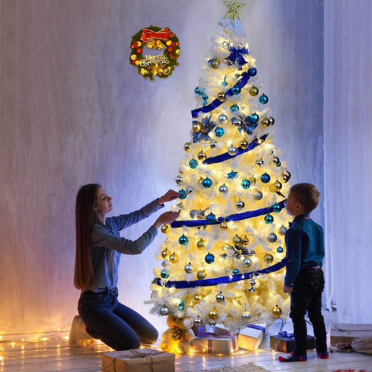 Albero Di Natale Con Foto Amici.Costway Albero Di Natale Artificiale 240cm In Pvc Con 1138 Rami Supporto In Metallo Sku Cm Idee Per L Albero Di Natale Decorazioni Di Natale Alberi Di Natale