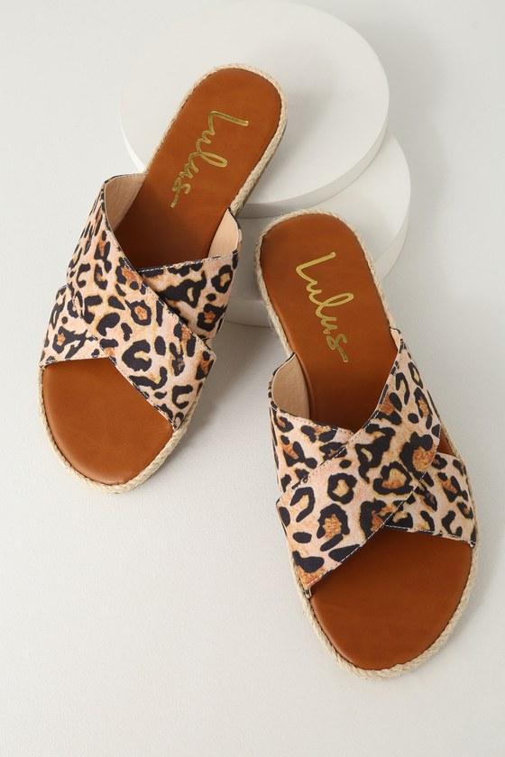 Koren Leopard Espadrille Slide Sandals