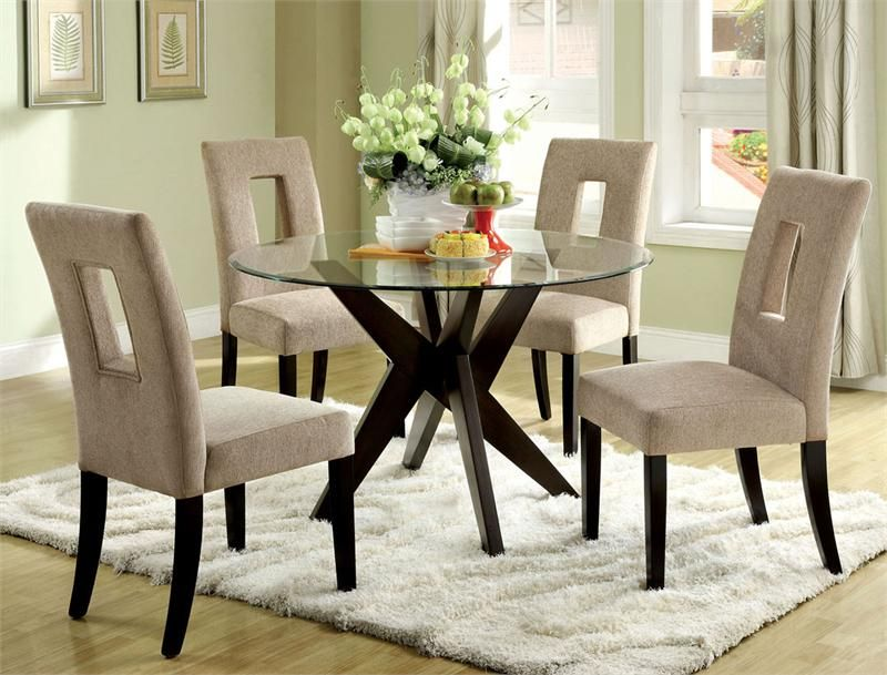 Contemporary Kitchen Tables And Chairs Round Round Glass Table