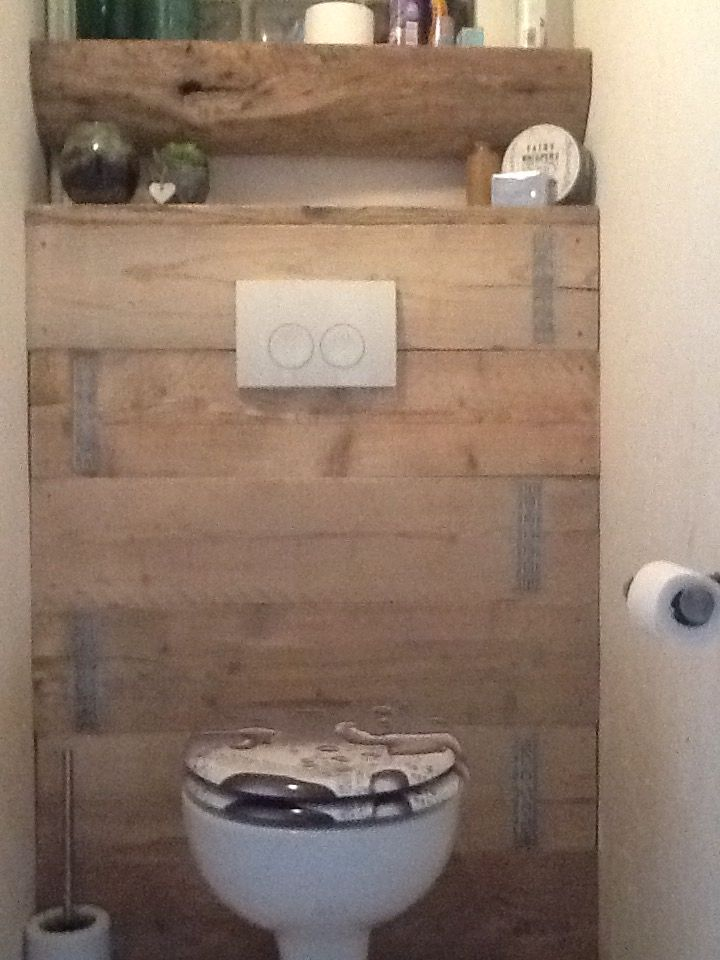 Wc afwerking in steigerhout decoreren en huisinrichting pinterest wc huisinrichting en - Wc decoratie ideeen ...