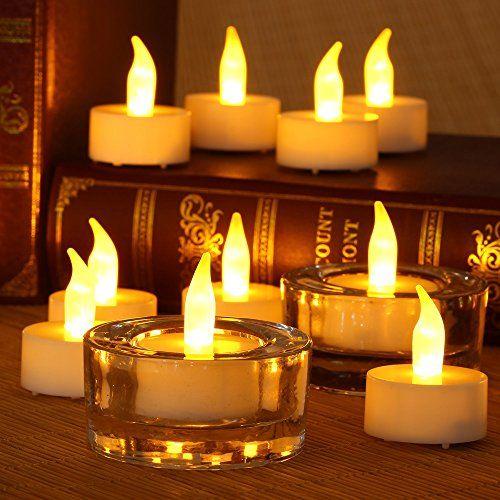12pcs Solar LED Tea Light Candles Battery Flameless Tealights Wedding Decoration