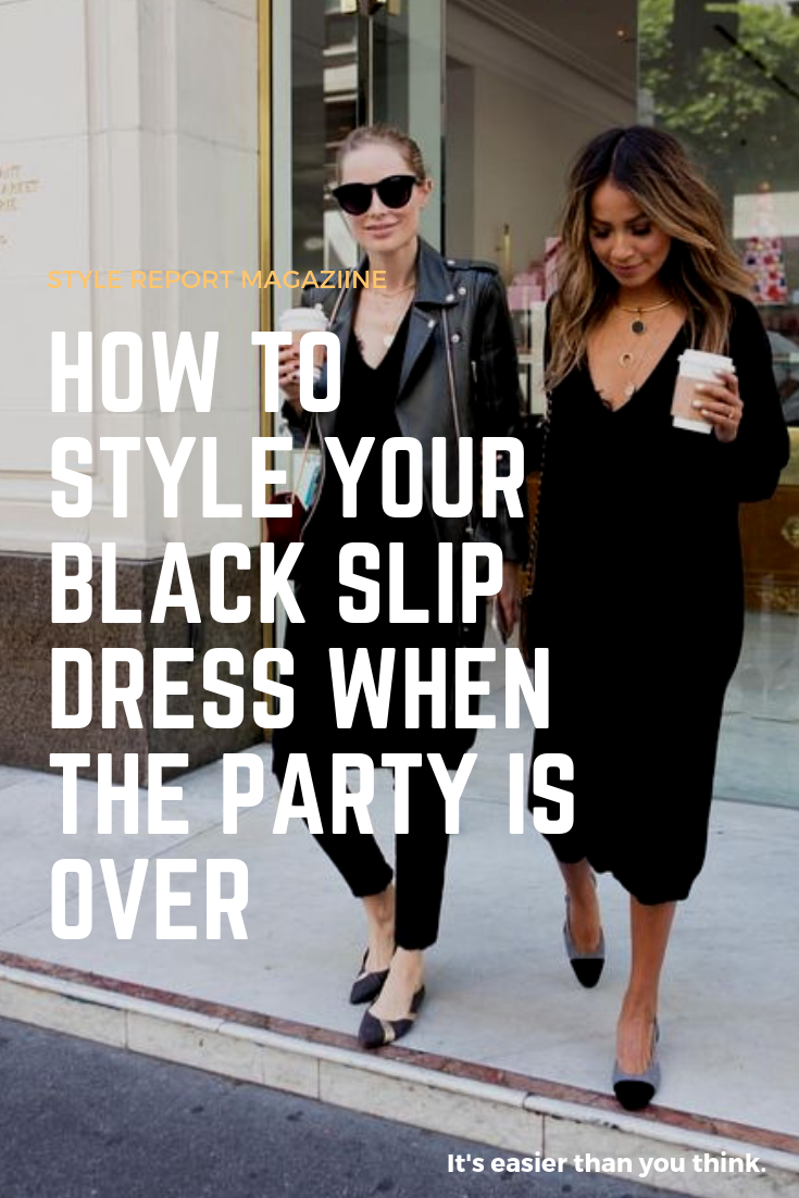 0e50df8c75a7 Simple ways to Style your Black Slip Dress. Add a chunky sweater, layer  with waxed leather leggings, moto jacket