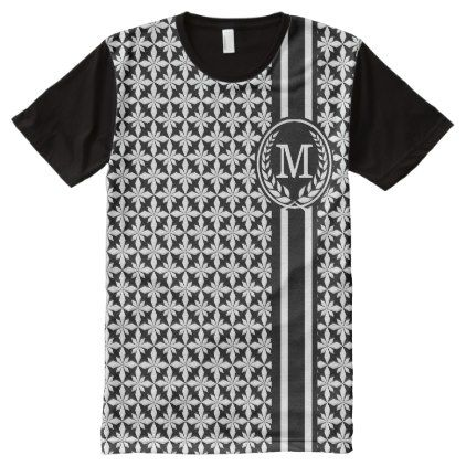 #monogrammed - #Monogrammed Black Vintage Label Polycross All-Over-Print T-Shirt