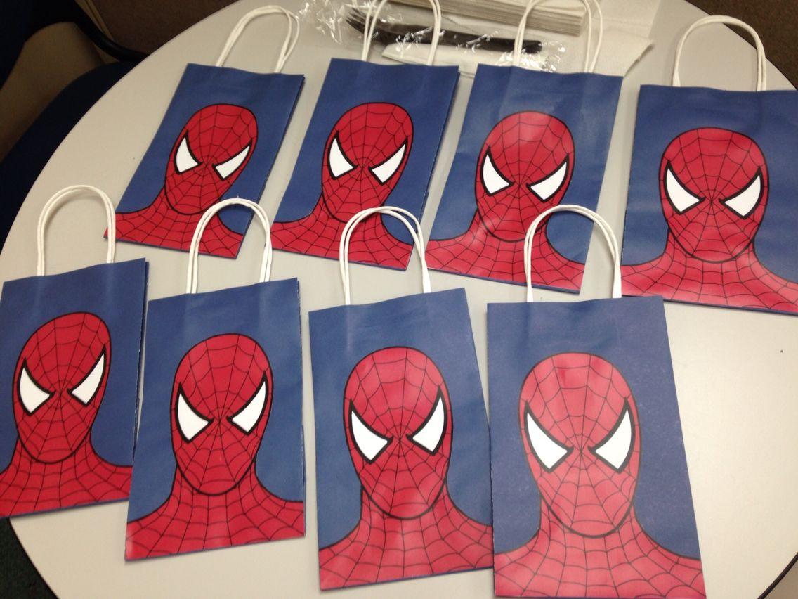 Spiderman goodie bags!   Super hero party   Spiderman bag