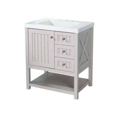 ** Martha Stewart Living Seal Harbor 30 in. Vanity in Sharkey Gray with Vanity Top in Alpine White $399  For Master Bath