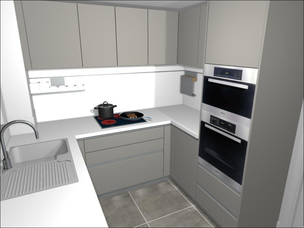 White Laminate Kitchen Worktops Schuller Kitchen In Stone Grey Mixing With A White Laminate