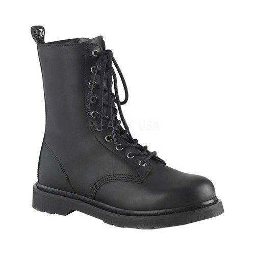 55519ed57aef Demonia Bolt 200 Mid Calf Boot - Black Vegan Leather Zipper