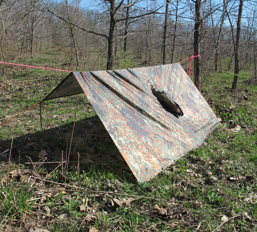 Types Of Lean To Shelter : Military poncho survival shelter many configurations