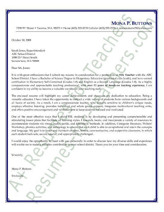ESL English as a Second Language Teacher Cover Letter Sample  resume  Sample resume cover