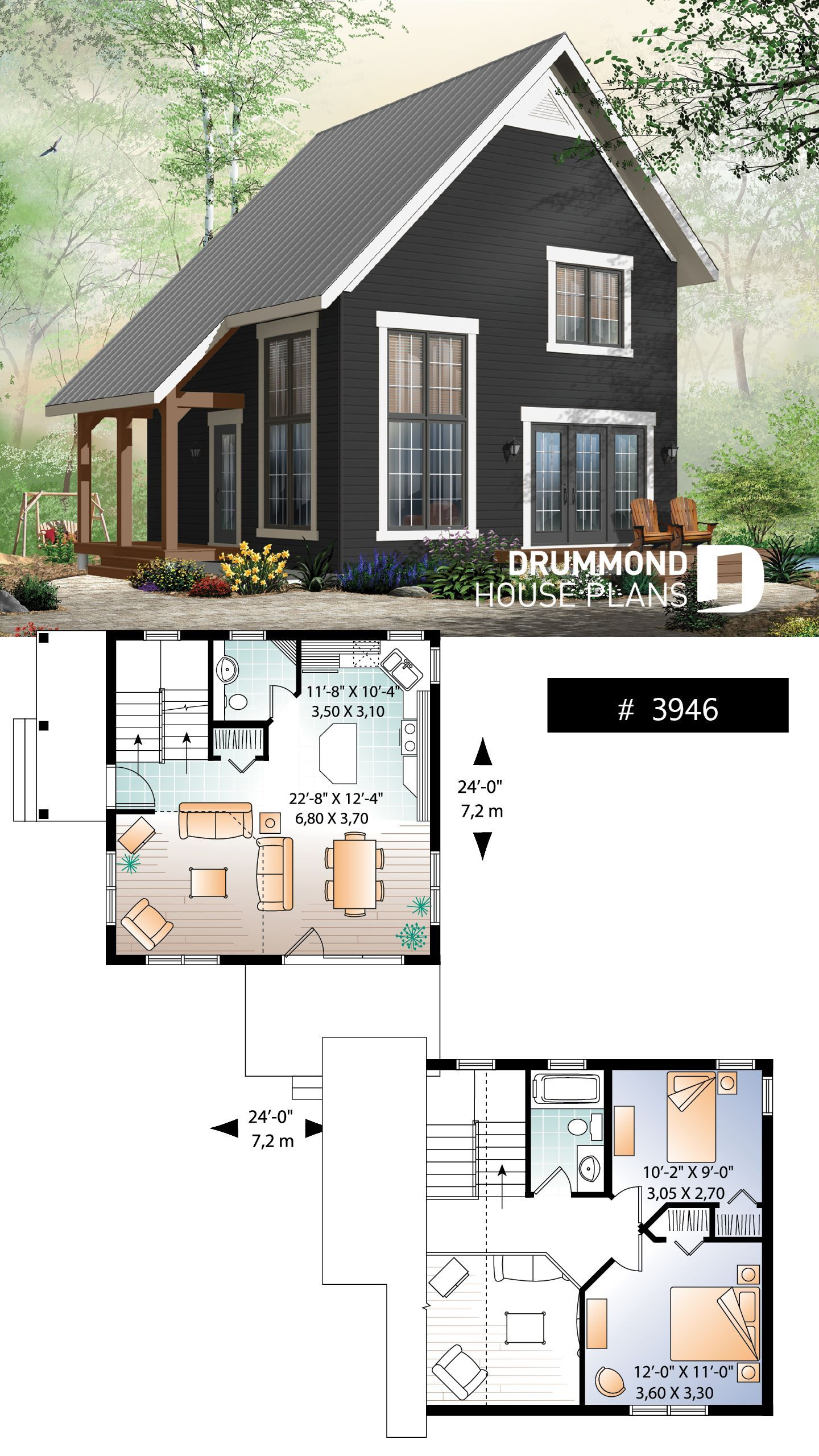 2 bedroom transitional style cottage design, with mezzanine and cathedral ceiling, affordable construction