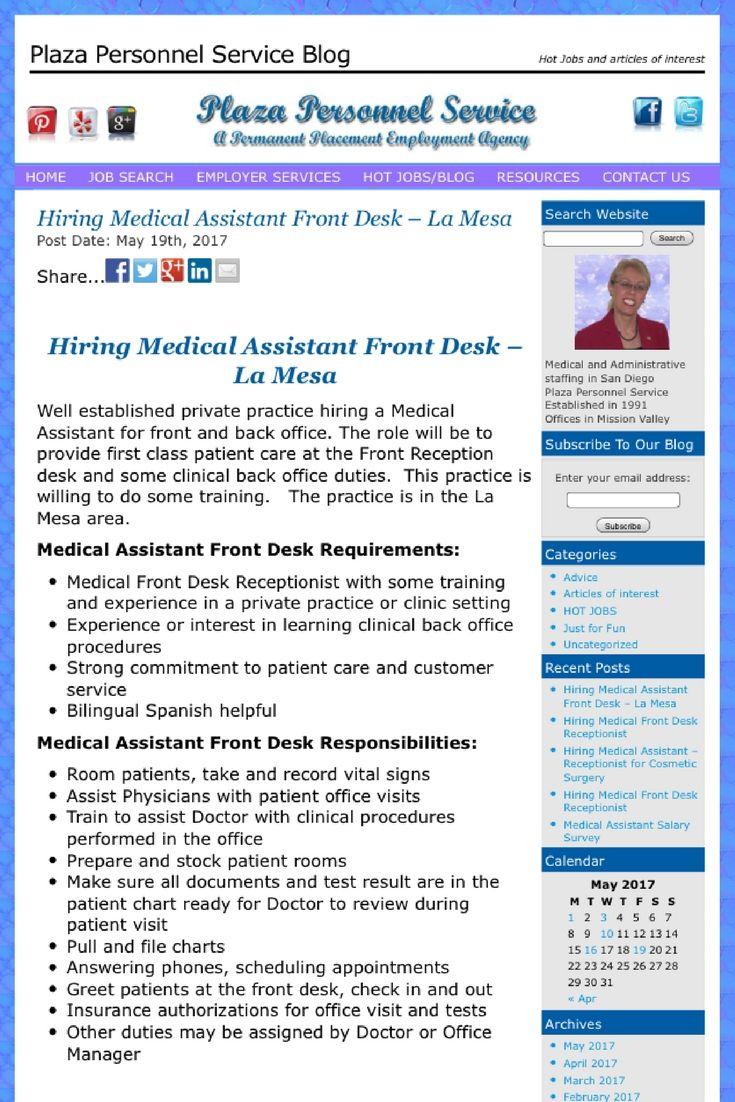 Hiring Medical Assistant Front Desk  La Mesa  Medical Assistant