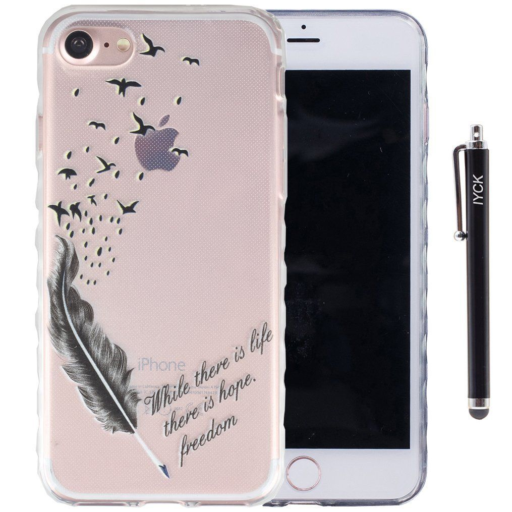 iPhone 8 Case, iPhone 7 Case, iYCK Ultra Slim Thin Premium Flexible Soft TPU Extra Grip Anti-Scratch Protective Transparent Border Back Cover for iPhone 7/iPhone 8 4.7inch - Feather Bird
