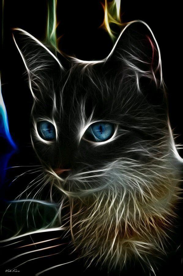 Arte Neon Pinturas De Gato Gatos Bonitos Y Dibujos De