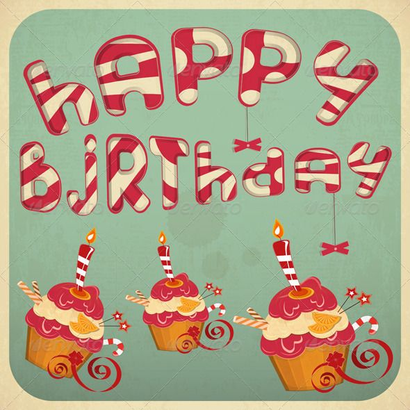 Vintage birthday card with cakes happy birthday birthdays and vintage birthday card with cakes by elfivetrov vintage birthday card with cakes bookmarktalkfo Image collections