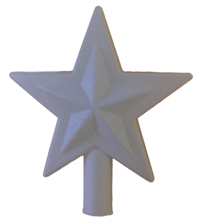 Small White Glitter 5 Point Star Tree Topper