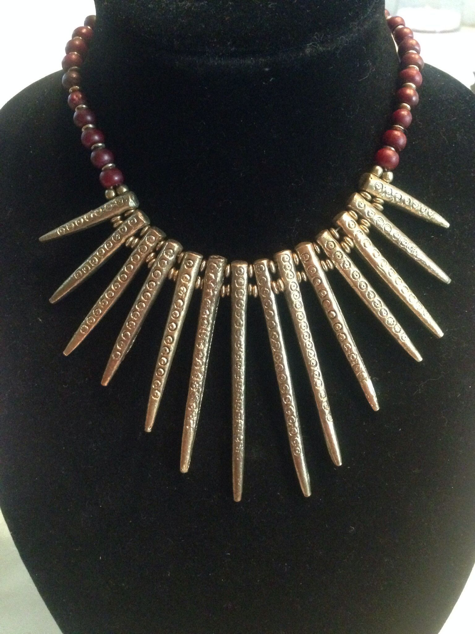 Antique gold spike necklace indian traditional and fashion jewelry