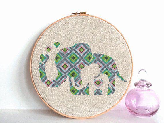 baby elephant Cross Stitch pattern, elephant Pattern, modern pattern, Geometric Animals, Cross Stitc #elephantitems