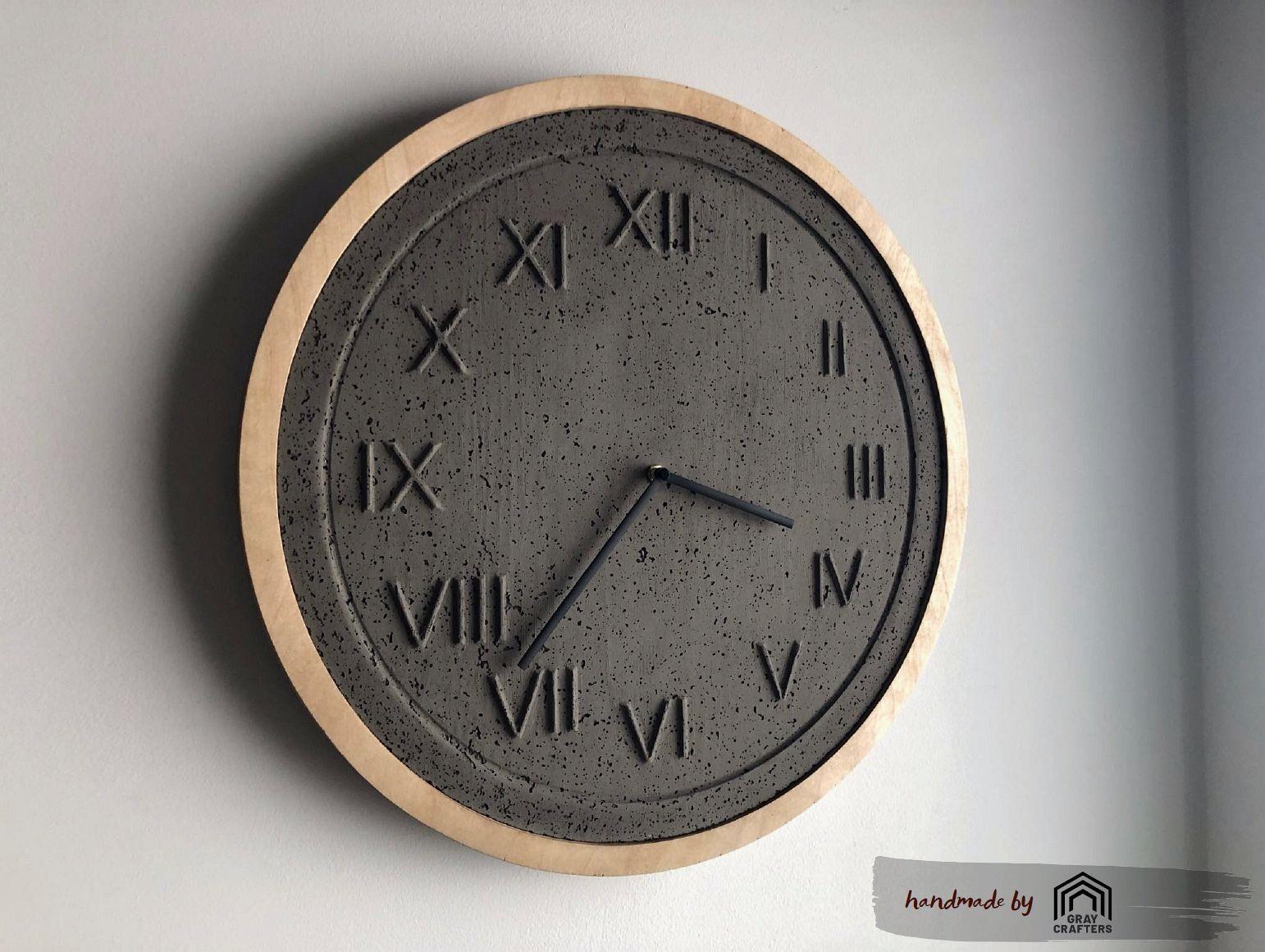 Concrete Clock Wall Clock Concrete Wooden Large Wall Clock Etsy Large Wall Clock Wall Clock Modern Unique Wall Clocks