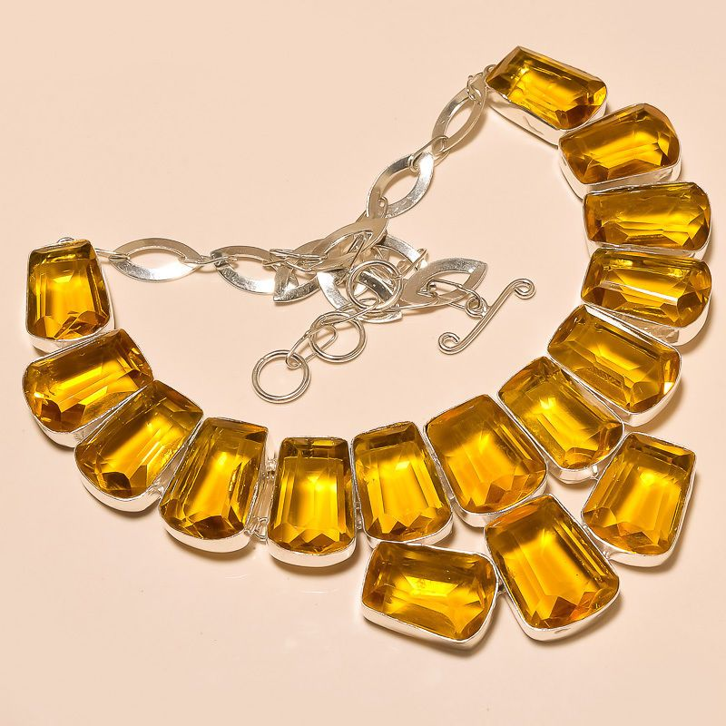AWESOME FACETED CITRINE TOPAZ HANDMADE.925 SILVER NECKLACE  #Handmade #Choker