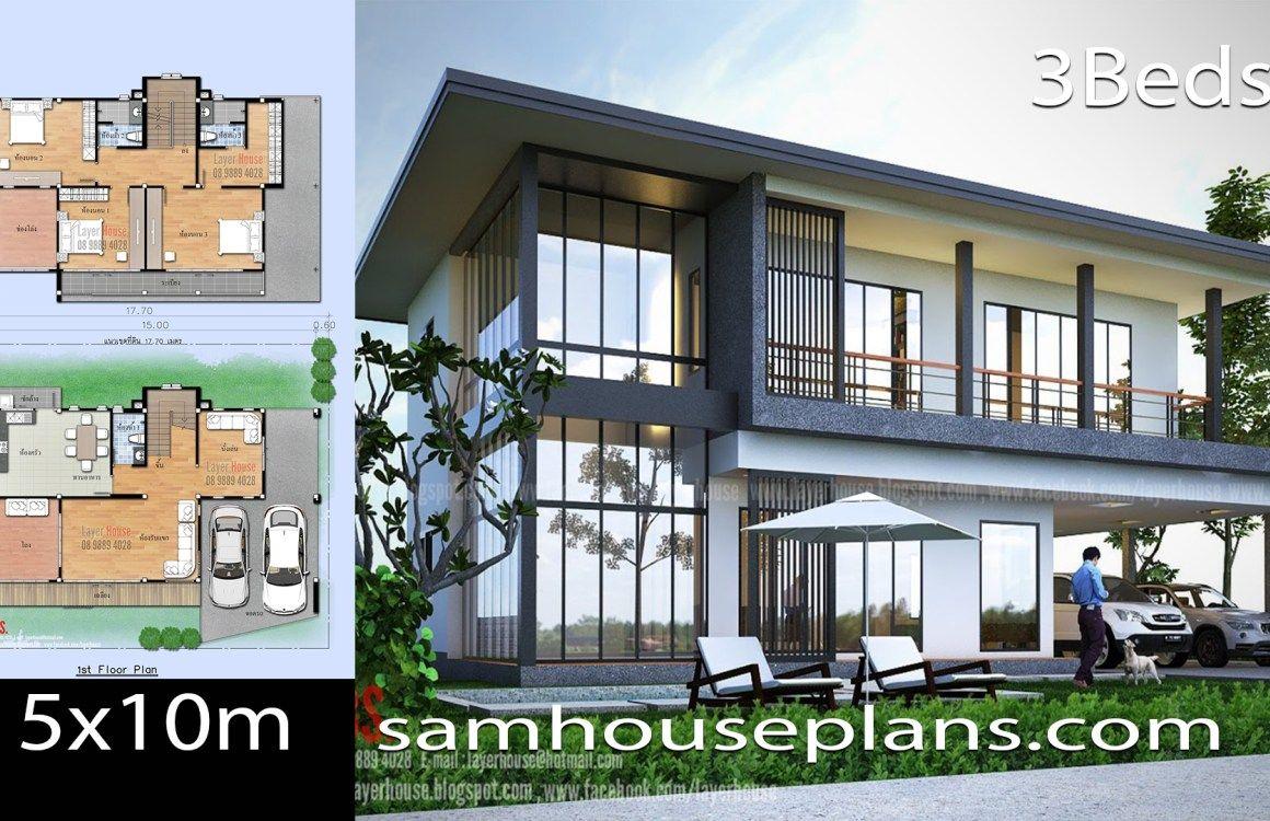 House Plans Idea 15x10m With 3 Bedrooms House Plans Contemporary House Plans Sims House Plans
