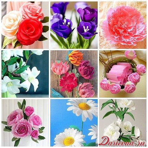 Цветы из гофрированной бумаги своими руками пошаговая инструкция розы 670