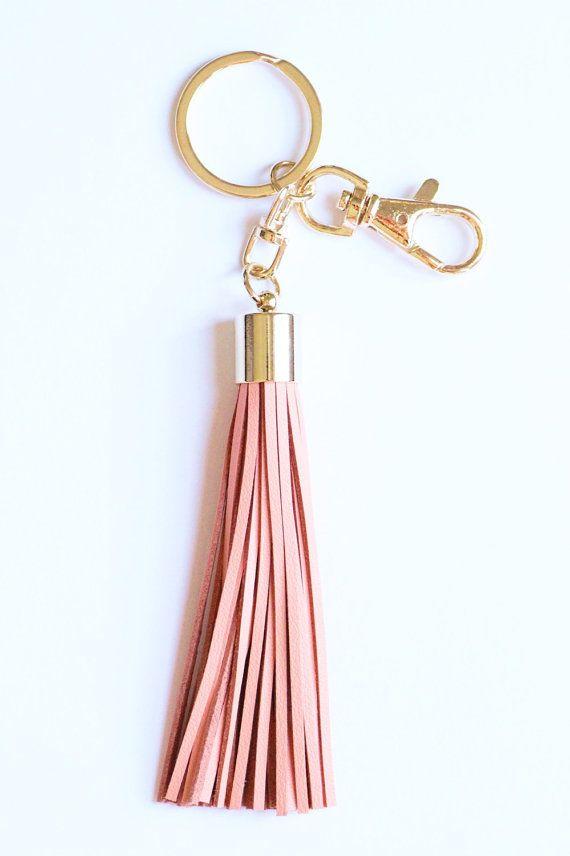 Leather Keychain Bag Charm Handmade Genuine Leather and Brass Tassel Keychain Tassel Keyring Leather Keyring Leather Tassel Keychains