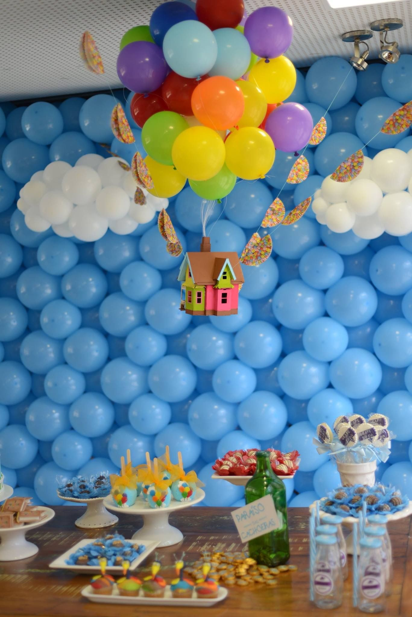 We Could Have A House Floating Behind The Podium Boys First Birthday Party Ideas Boy Birthday Parties Disney Birthday Party